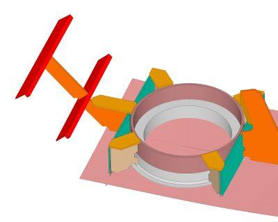 Estructura de soporte para estabilizadores en yate a motor